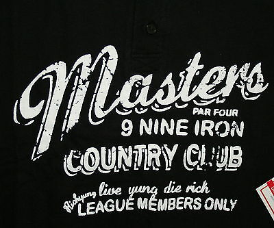 Rich Yung Masters Country Club Polo Black Shirt New Tags Sz Xl  56 Value