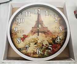 Plastic Wall Clock, app.11.5, PARIS BUTTERFLIES & FLOWERS, EIFFEL TOWER, white