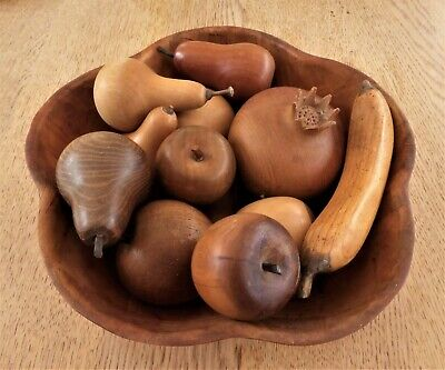 Collection Of 11 Quality Vintage Carved Solid Wooden Fruit In Bamboo Bowl Dish