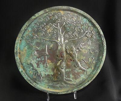 "Ancient Chinese Tang Dyn. 7"" Bronze Lunar Moon Immortality Mirror ""Jade Rabbit"""
