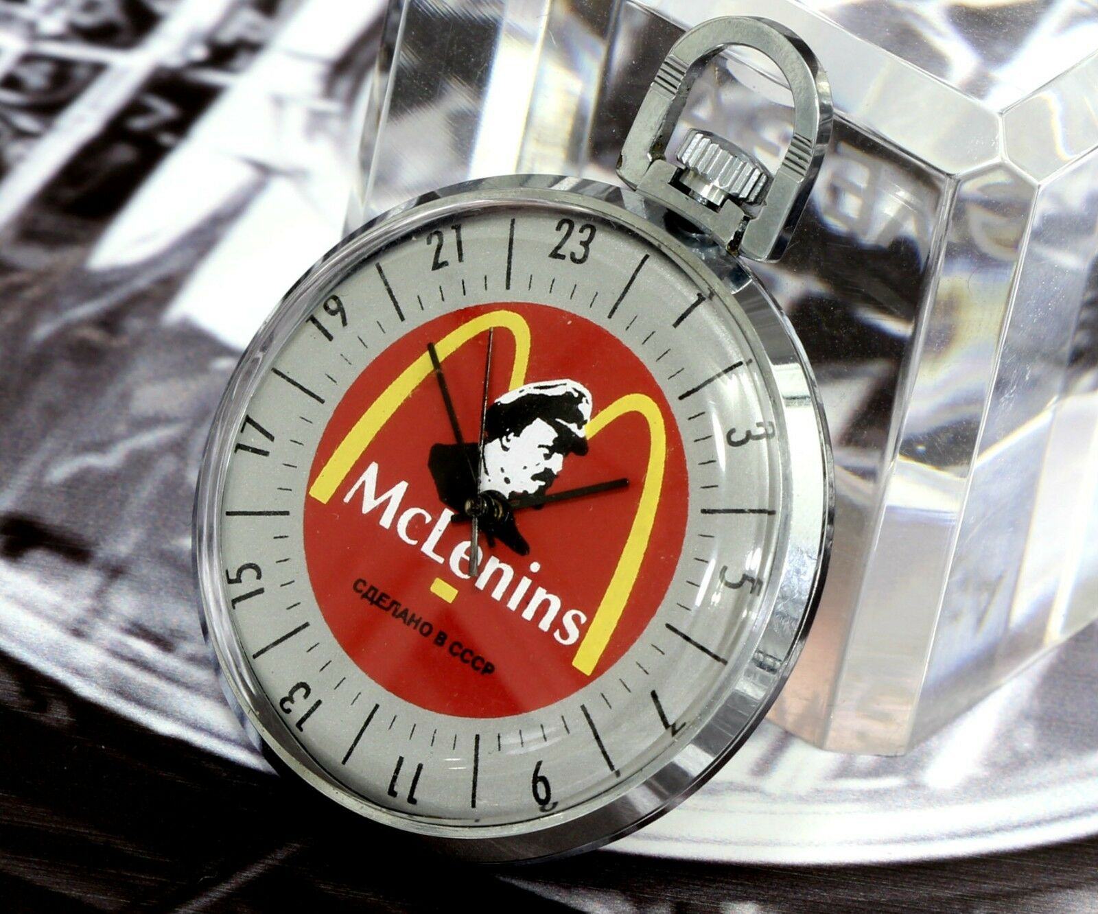 Rare Vintage USSR Soviet Raketa 24h Dial 19 Jewels Pocket Watch Lenin Propaganda