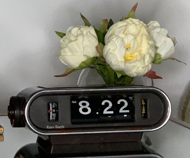 Vintage Ken-Tech Model T-440 Flip Alarm Clock Made in Japan Tested Works Well
