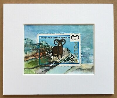 Goat art, sheep, Mufflon ACEO Original painting, Polish Gift, Postage Stamp Art