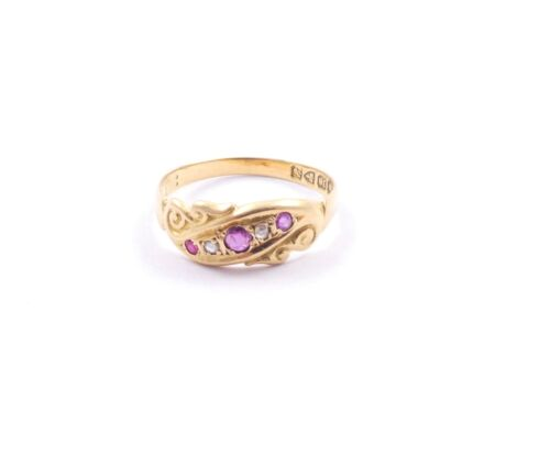 Ruby Diamond Antique Ring Chester 1906 Superb Colour 18 carat gold