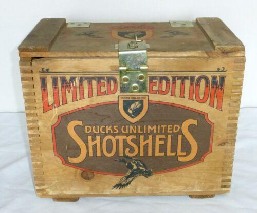 Vintage DU 1985 Commemorative Ducks Unlimited Gunners Wooden Shot Shell Box