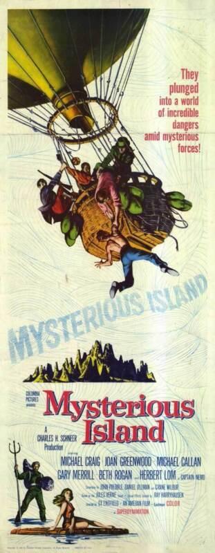 MYSTERIOUS ISLAND Movie POSTER 14x36 Insert Michael Craig Joan Greenwood Michael