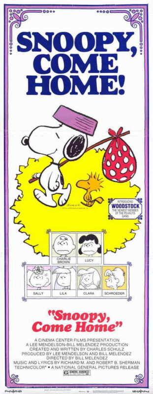 SNOOPY COME HOME Movie POSTER 14x36 Insert