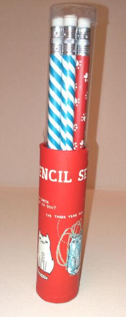 Pickle Parade 6 PENCIL POT SET CATS DESIGN Blue White Stripe RED PAW PRINTS Gift