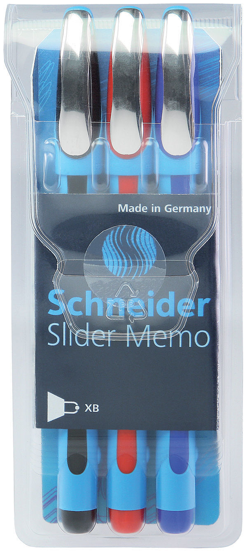 3 Pack – SCHNEIDER Slider Memo XB Ballpoint Pens – BLACK, BLUE, RED – New Collectibles