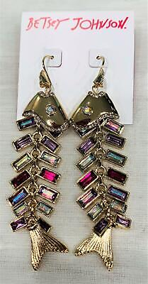 Betsey Johnson Linear Drop Fish Earrings Multi-Color Crystals NWT $65