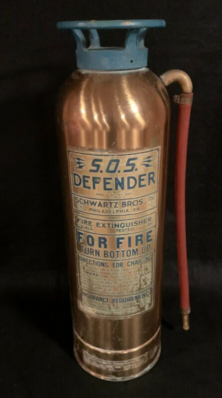 """Vintage """"SOS Defender"""" Brass/Copper Fire Extinguisher by Schwartz Bros, Phila."""