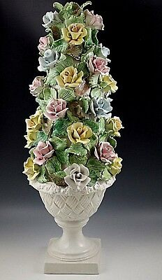 Topiary Base (VINTAGE CAPODIMONTE LAMP BASE OR TOPIARY  ITALY YELLOW BLUE PINK ROSES  WITH URN )