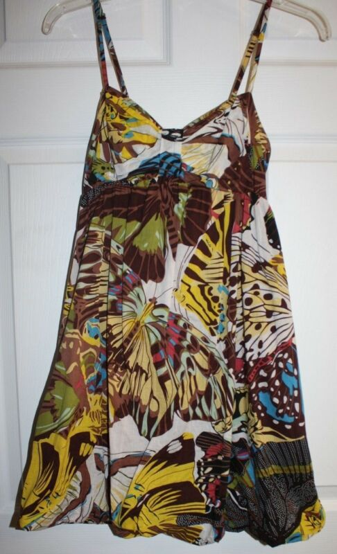 Womens Ladies American Rag Multi-Color Brown Floral Spaghetti Strap Sun Dress M
