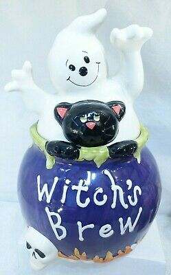DAVIDS COOKIES HALLOWEEN COOKIE JAR WITCH'S BREW GHOST BLACK CAT