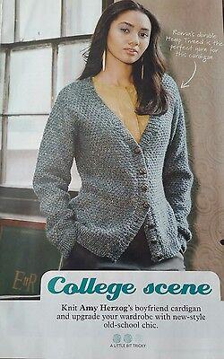 Ladies Cardigan Knitting pattern. College Scene  By Amy Herzog