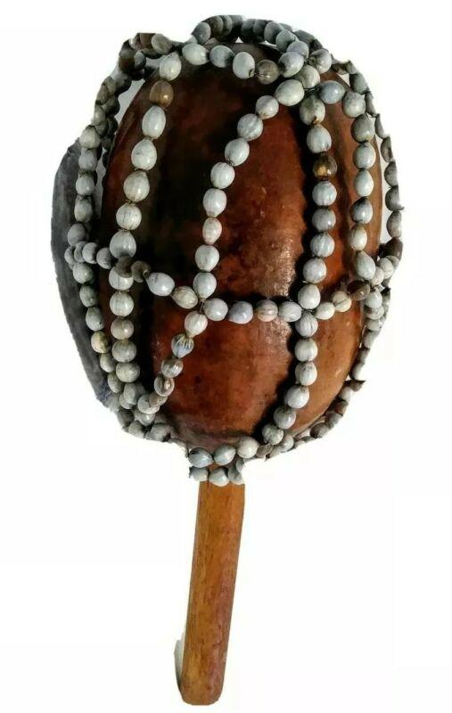 "Vintage Gourd Cabasa Musical Shaker African Origin Seed14.5x5""Instrument Maraca"