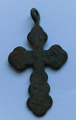 WEARABLE LATE MEDIEVAL RELIGIOUS BRONZE CRUCIFIX AMULET 1400-1500 AD