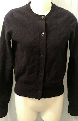 +J Uniqlo 90% Cashmere Womens Cardigan Sweater Size XS Navy Blue Button Soft
