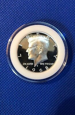 1968 S Kennedy Half Dollar Gem Deep Cameo Proof~40% Silver In Coin Capsule