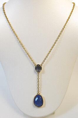 Ralph Lauren Necklace Gold Tone Blue Crystal Chain Drop Y Necklace