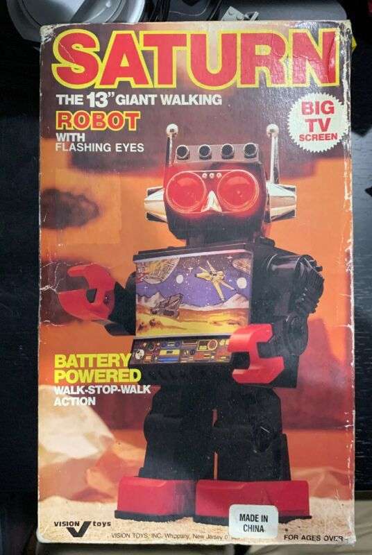 "Vtg SATURN THE 13"" GIANT WALKING ROBOT Shoots Missiles/Active Screen Rare NIB"