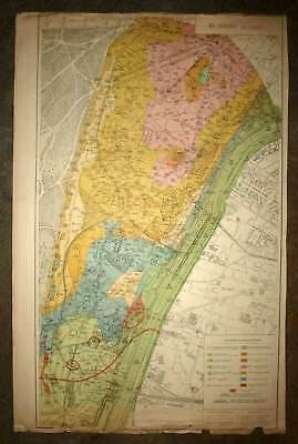 Plan antique card location of the 16eme 16th district de Paris 1924 rare