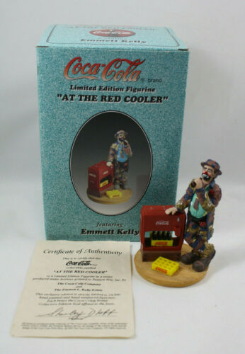 Coca Cola At The Red Cooler Emmet Kelly Clown Figurine, COA, MIB