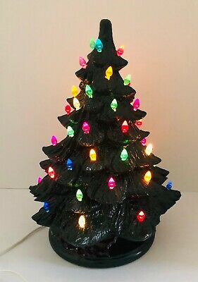 "Vintage Light Up Ceramic Christmas Tree On Base Plug In Dark Green 14"" High"
