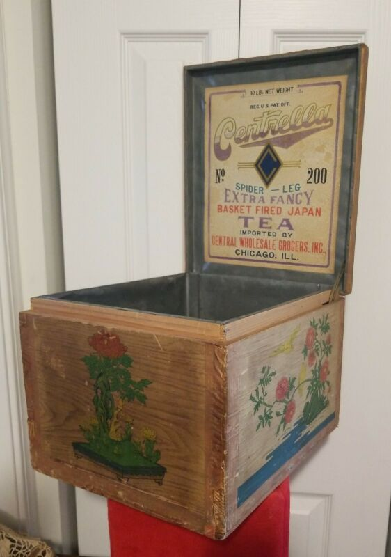 rare Metal Lined Wood Crate CENTRELLA TEA Caddy BOX Asian Design ADVERTISING