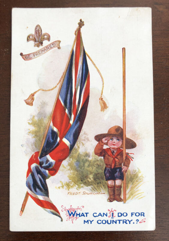 Vintage Boy Scout Postcard Be Prepared My Country Flag Spurgin Inter-Art Co.