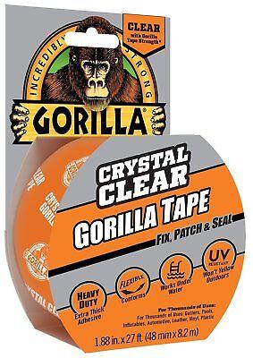 Gorilla Glue 6027002 Crystal Clear Duct Tape 1.88 X 9 Yd Clear