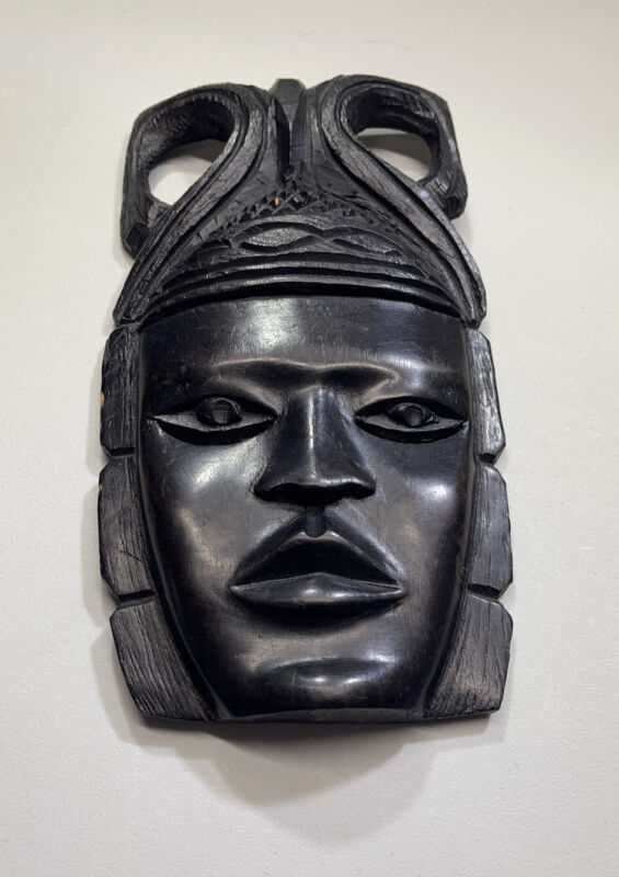 """GHANA Handcarved Solid Wood Mask 5""""x10"""" Beautiful Antique Collectible"""