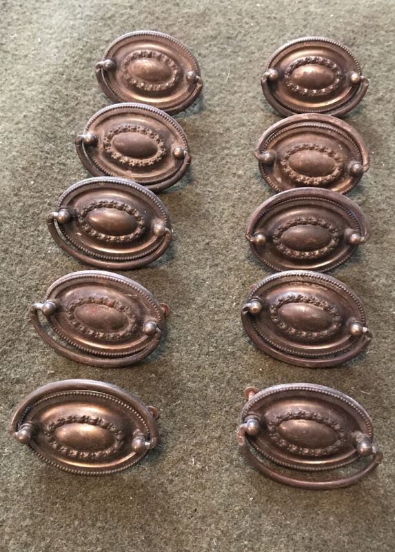 VINTAGE OVAL DROP RING-BAIL HEPPLEWHITE DRAWER PULLS . W/ Original Screws!
