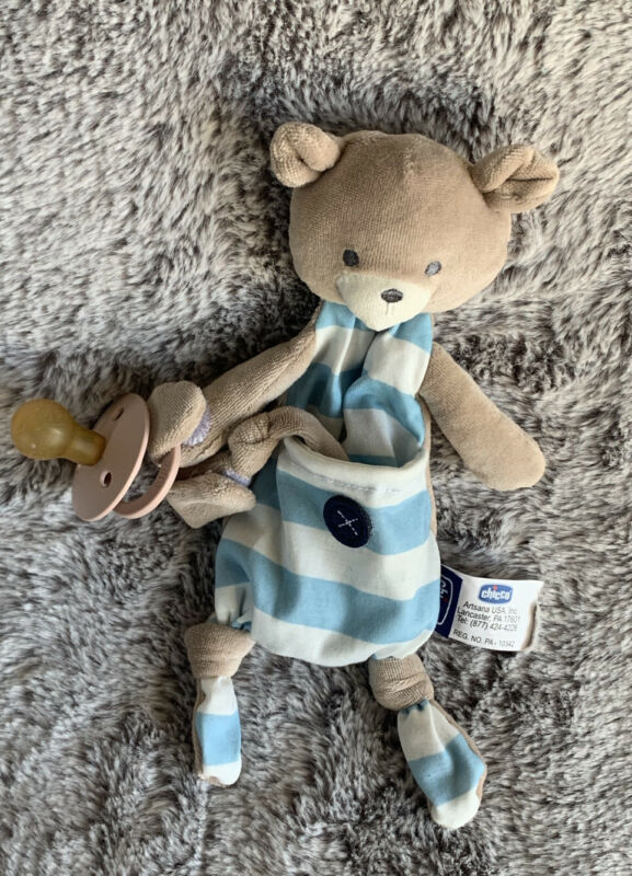 Chicco Pocket Buddies Soft Pacifier Holder-Lovey, Soothing Plush Toy Animal