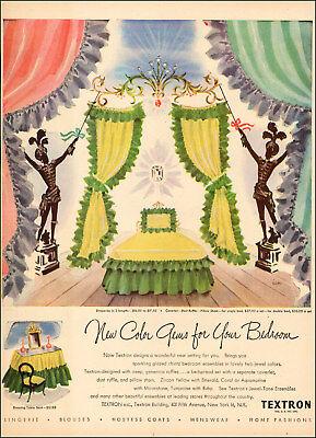 1940s vintage AD TEXTRON Jewel Tone bedroom ensembles Drapes, Coverlets  092517