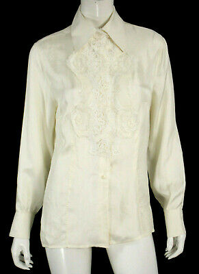 ERMANNO SCERVINO Ivory Silk Twill Floral Lace Applique Blouse 46