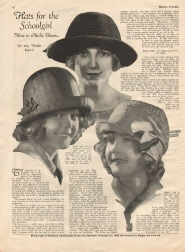 1925 Hats for the Schoolgirl - How to Make Them - Vintage 4-Page Article