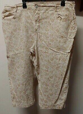 Hannah Denim Size Plus 22W Capris Beige Floral Tapestry Stretch Cropped Pants