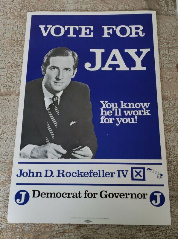 "West Virginia Jay Rockefeller Campaign Poster US Senate Original  22"" x 14"""