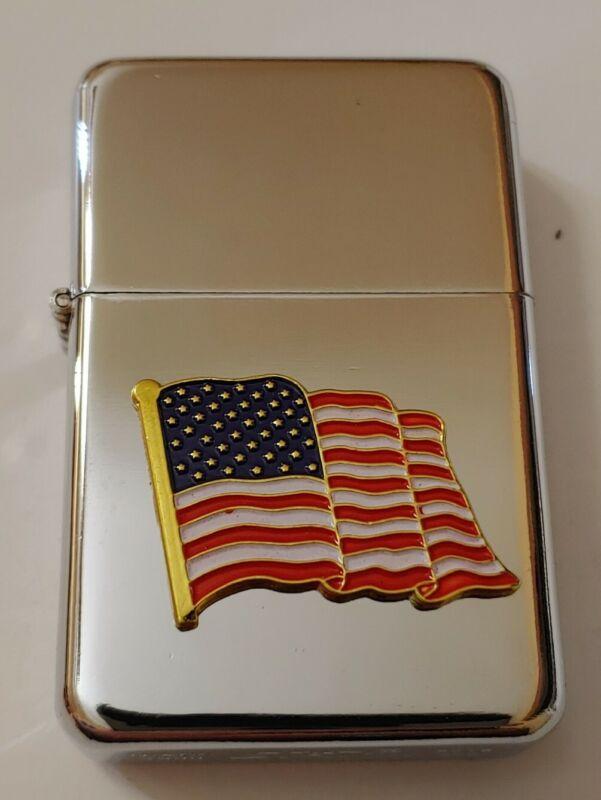 STAR-1 HIGH POLISH CHROME Lighter w/ US FLAG w/ Gold Trim Emblem - NEW