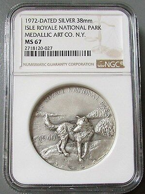 1972 Isle Royale National Park Medallic Arts Co Medal Ngc Mint State 67
