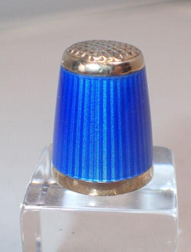 Aksel Holmsen Norway Cobalt Blue Guilloche Enamel Sterling Silver Thimble