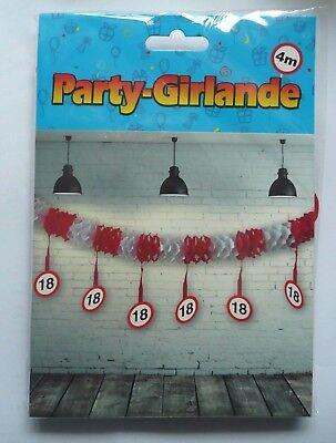 DEKORATION! Papier-Girlande mit hängender Dekoration zum 18.Geburtstag, 4m! NEU!