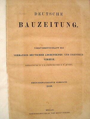 Deutsche Bauzeitung 23. Jahrgang 1889 Heft 1 - 103 fest gebunden RAR