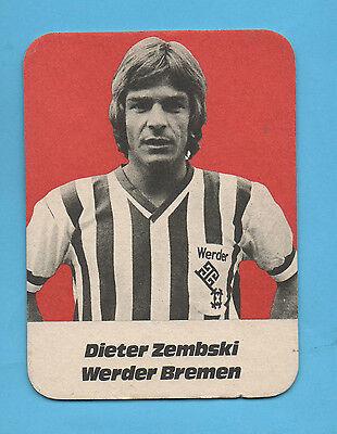 Orig.Bierdeckel    SV WERDER BREMEN  Saison 1971/72 - DIETER ZEMBSKI  !!  SELTEN