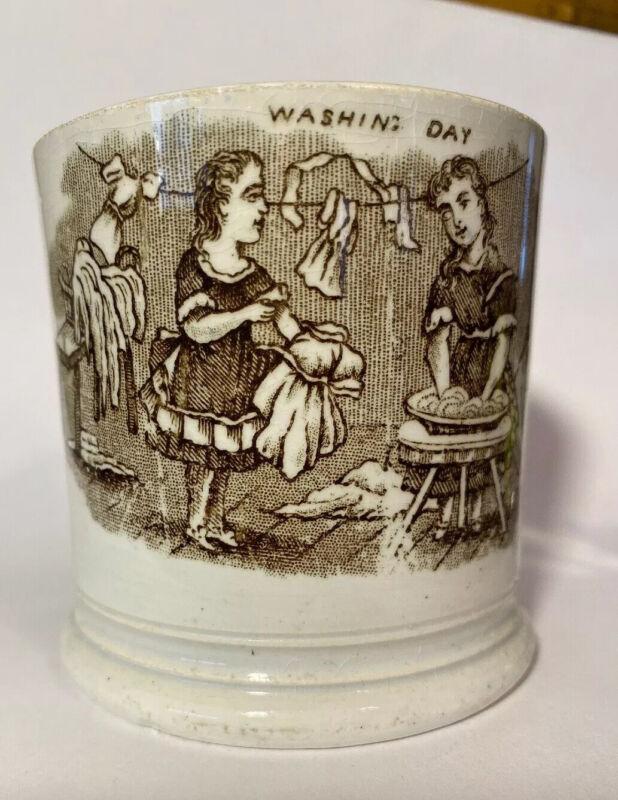 Antique Staffordshire transfer ware Pearlware  Child