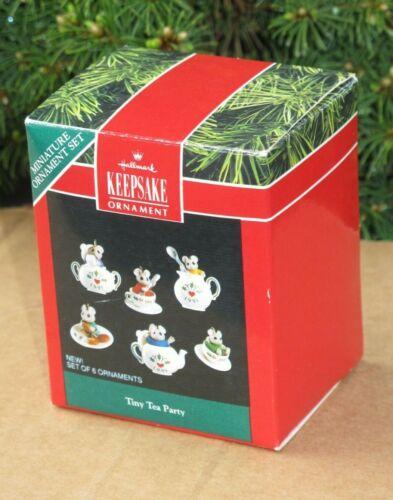 Hallmark Keepsake Tiny Tea Party Miniature Ornament Set 1991 Mice Porcelain