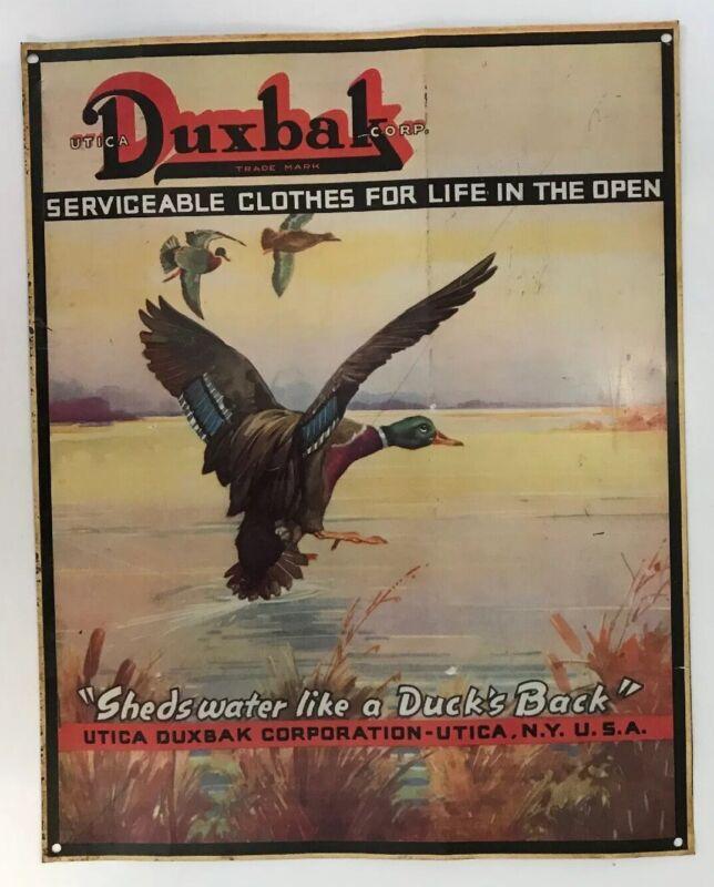 Vintage Tin Duxbak Sign Huntin Advertising Mallard Duck Waterfowl Sporting Decoy