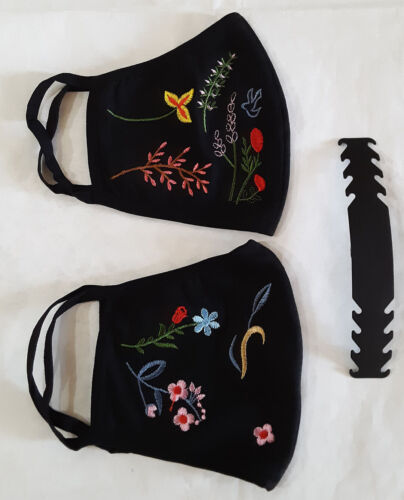 2 pack Large Spring & Fall Embroidered Black Face Mask Cotton Washable w/ strap