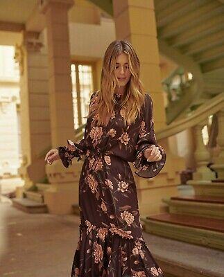 Johanna Ortiz X H&M Flounced Brown Wild Rose Crepe Dress Medium (12/14) BLOGGERS